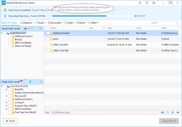 Scan the selected disk to recover deleted files and folders