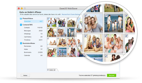 Free iPhone data recovery software for Mac allows to preview and selectively recover lost files.
