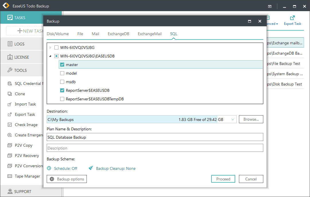 SQL backup with EaseUS Todo Backup