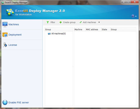 Main window of EaseUS backup software