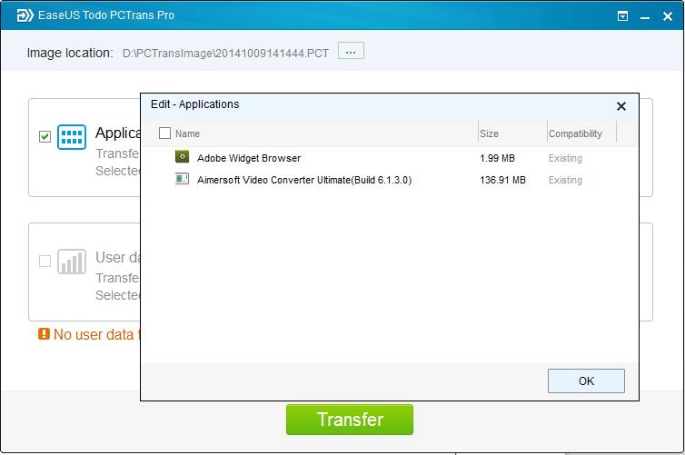 Transférer des données via le fichier image à partir de Windows 7 à Windows 10